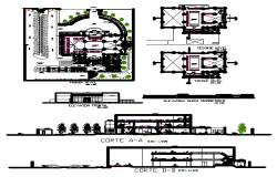 Urban Dance floor building plan and design view dwg file
