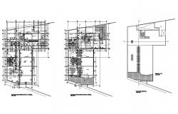 Urban hospital two-story floor plan and cover plan details dwg file