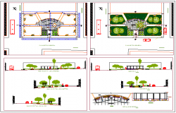 Urban park landscaping architecture project dwg file