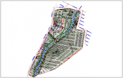 Urban town planing map with gardens dwg file