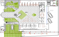 Urbanized bank site plan with landscaping details dwg file