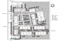 Urbanized school landscaping with structural layout plan details dwg file