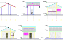 Utility building--masonry light weight roof elevation dwg file