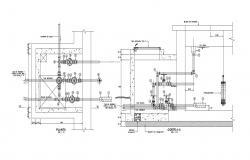 Valve house plan and section view dwg file