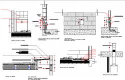 Various construction details of house building dwg file