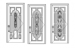 Various door designs detail dwg file