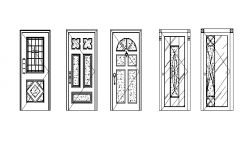 Various types of doors elevation detail
