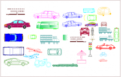 Vehicle block view with different types of view dwg file
