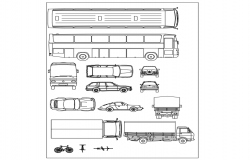 Vehicle different types of block dwg file
