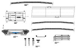 Vehicular and pedestal bridge section, plan and construction details dwg file