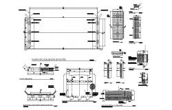 Vehicular bridge 20 meters elevation, section, plan and construction details dwg file