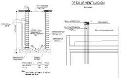 Ventilation and main hole section autocad file