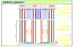 Vertical section drawing of Special block design of separation of housings and maintenance design drawing