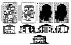 Villa design 14.65mtr x 17.3mtr with different elevation in dwg file