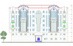Villa elevation view dwg file