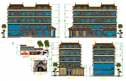 Villa house plan dwg file