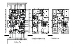 Villa plan with detail dimension in dwg file