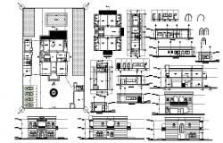 Villa plan with elevation and section in dwg file