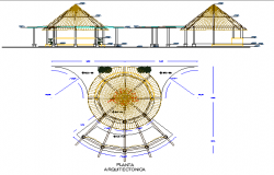 Village old style roof house architecture project dwg file