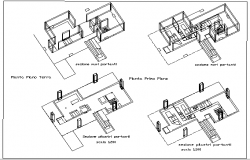 Wall Construction Details of Multi-Flooring Bungalow dwg file