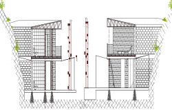 Wall Construction of Beach House Elevation dwg file