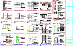 Wall and different devices construction dwg file