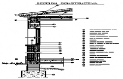 Wall and lintel level constructive section design drawing