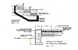 Wall and stair elevation detail dwg file