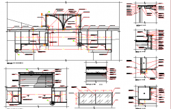 Wall construction and sectional details of shopping center dwg file