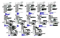 Wall construction details of all floors of building dwg file