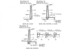 Wall construction details with column and beam cad drawing details dwg file