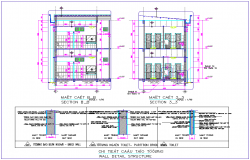 Wall detail with structure view with elevation of office area dwg file