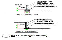 Wall footing detail design drawing