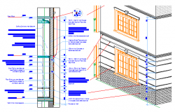Wall interior and exterior section design drawing