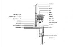 Wall joints and constructive details of side wall cad drawing details dwg file