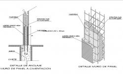 Wall of panel and foundation structure details dwg file