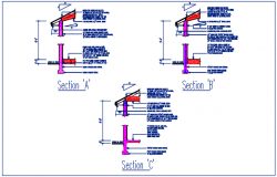 Wall section A, wall section B, wall section C detail with naming details dwg file