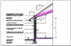 Wall section with foundation details & floor divided with naming material