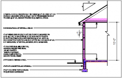 Wall section detail with foundation details,  floor divided naming all of the material