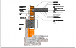 Wall section plan of building dwg file