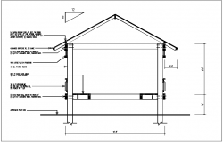 Wall section view detail of house dwg file