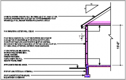 Wall section view of house detail dwg file