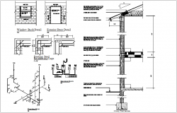 Wall section with footing and electrical panel view dwg file