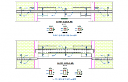 Wall to Beam section detail dwg file