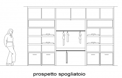 Wardrobe CAD furniture detail elevation layout dwg file
