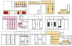 Wardrobe Furniture Blocks Elevation AutoCAD Drawing