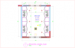 Wardrobe ceiling plan with furniture view dwg file