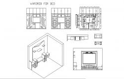 Wardrobe for bedroom elevation and furniture details dwg file