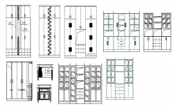 Wardrobe furniture detailing dwg file