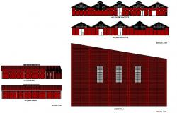 Ware houses elevation detail dwg file